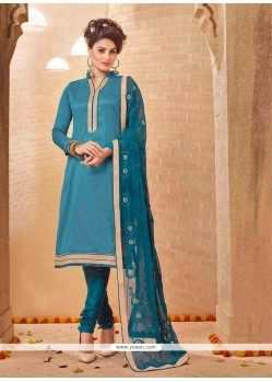 Lovely Blue Lace Work Churidar Salwar Suit
