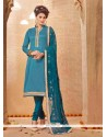 Lovely Blue Lace Work Churidar Salwar Suit