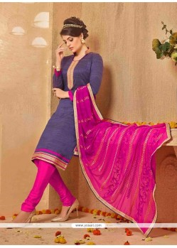 Titillating Lace Work Hot Pink Banarasi Silk Churidar Salwar Kameez