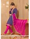 Titillating Lace Work Hot Pink Banarasi Silk Churidar Salwar Kameez