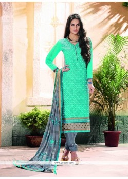 Stunning Embroidered Work Churidar Designer Suit