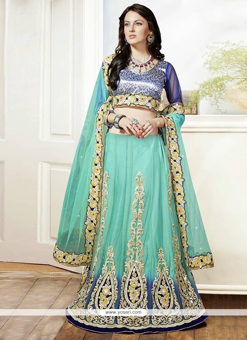 Turquoise Blue Zari Work Net Lehenga Choli