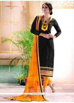 Radiant Black Churidar Designer Suit