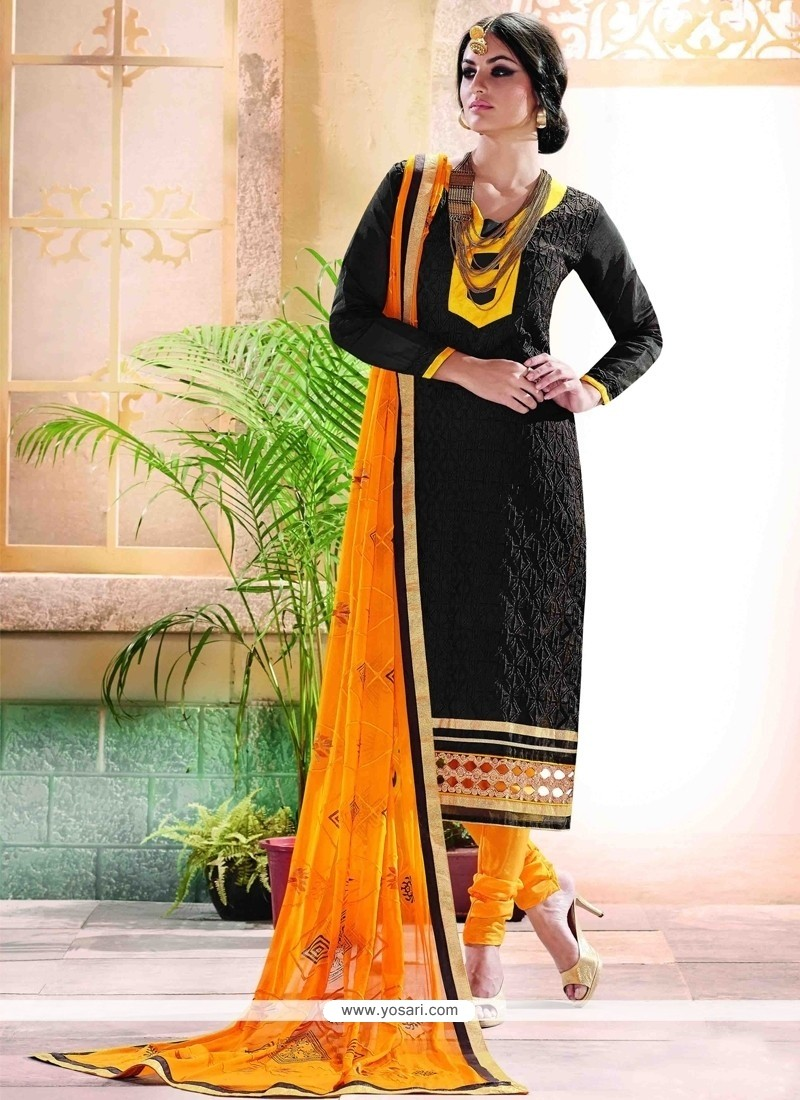 Radiant Black Churidar Designer Suit