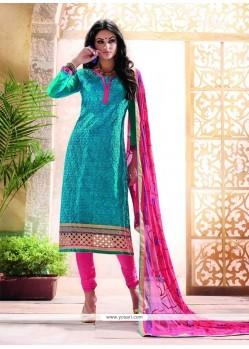 Divine Chanderi Embroidered Work Churidar Designer Suit
