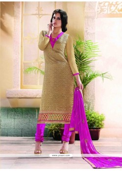 Energetic Beige Embroidered Work Churidar Designer Suit
