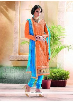 Paramount Orange Lace Work Chanderi Churidar Designer Suit