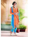 Paramount Orange Lace Work Chanderi Churidar Designer Suit
