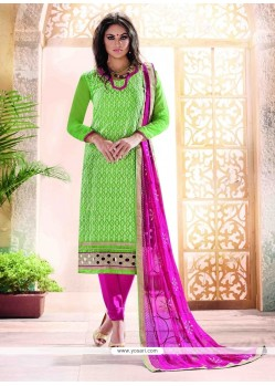 Mystic Lace Work Chanderi Churidar Designer Suit