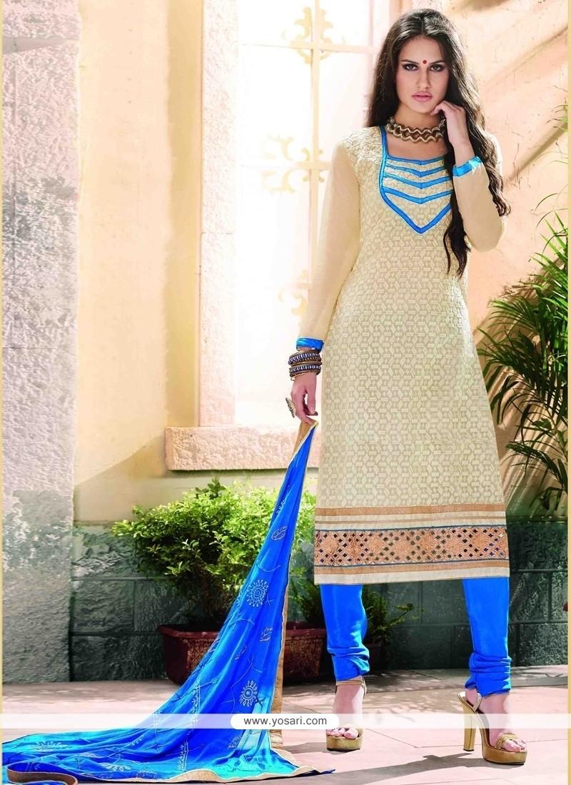 Fantastic Lace Work Cream Chanderi Churidar Designer Suit