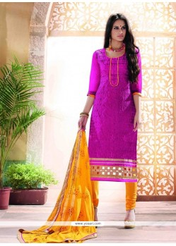 Pristine Magenta Embroidered Work Churidar Designer Suit