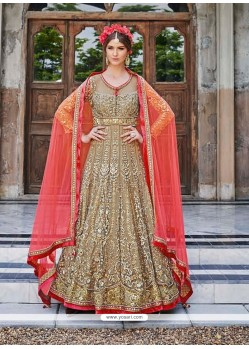 Gleaming Net Brown Resham Work Anarkali Salwar Kameez