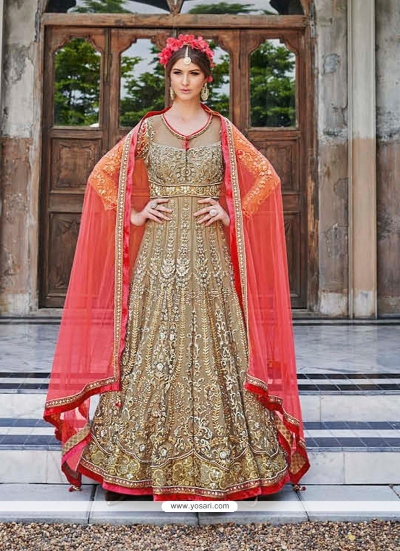 Gleaming Net Brown Resham Work Anarkali Salwar Kameez