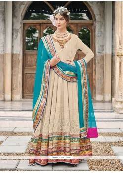Peppy Multi Colour Faux Crepe Anarkali Salwar Kameez