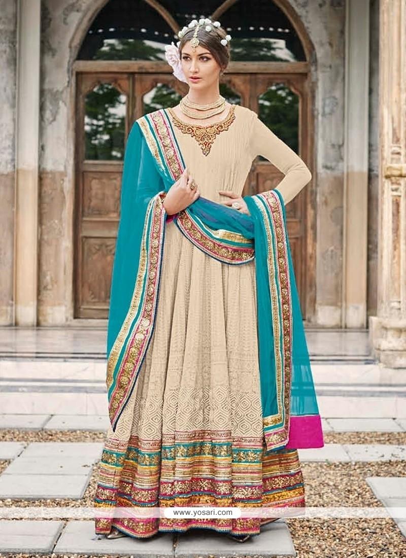 Peppy Multi Colour Faux Crepe Anarkali Salwar Kameez
