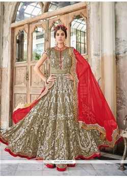 Awesome Green And Red Anarkali Salwar Suit