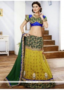 Refreshing Green Appliques Net Lehenga Choli