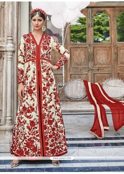 Lovely Red Embroidered Work Georgette Anarkali Salwar Kameez
