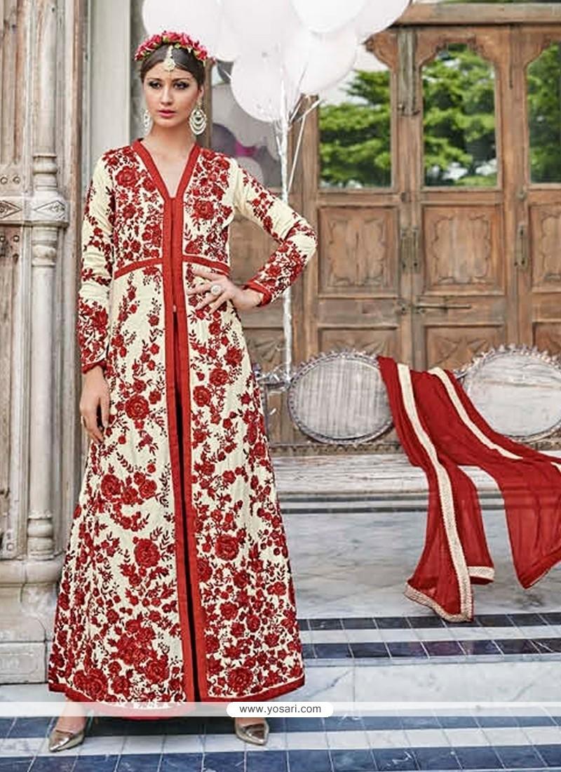 Lovely Red Embroidered Work Georgette Anarkali Salwar Kameez