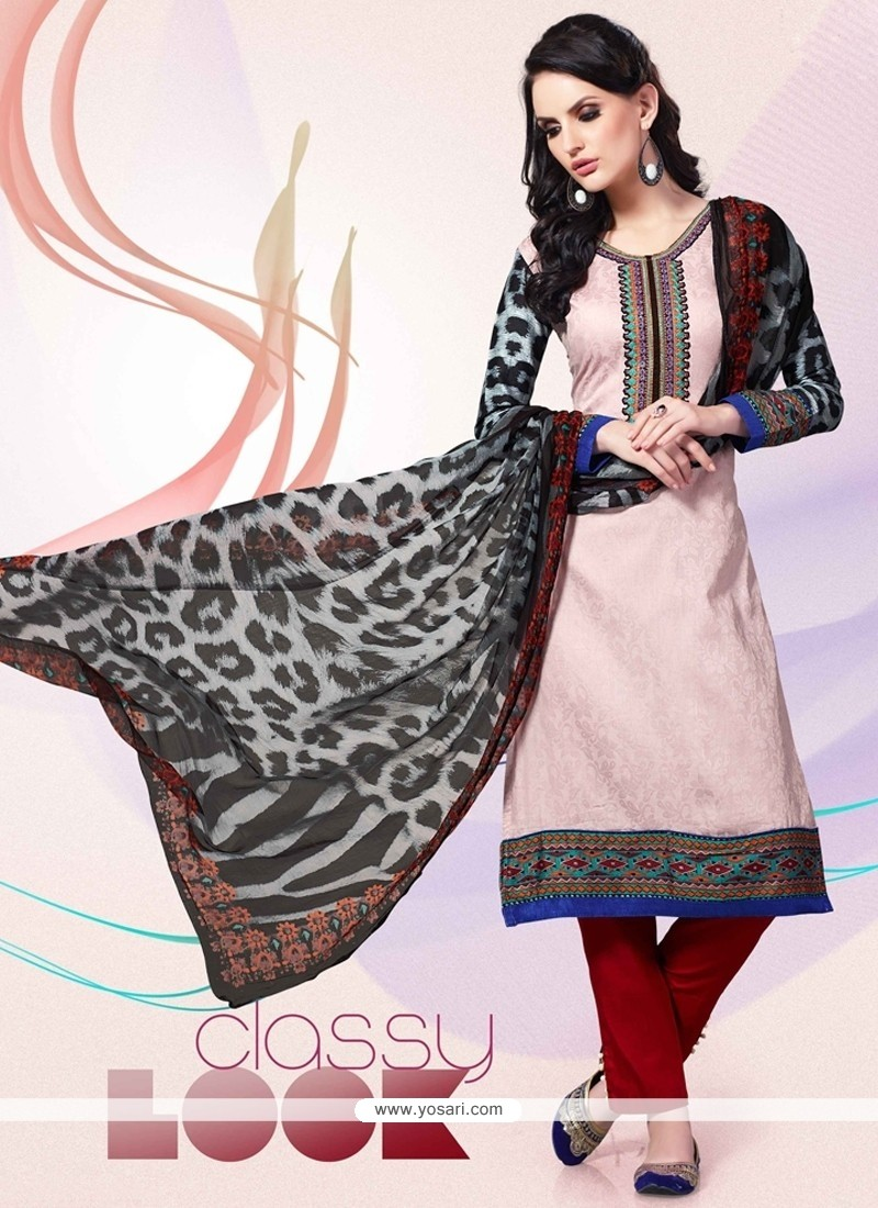 Staring Embroidered Work Cream And Red Cotton Satin Churidar Designer Suit