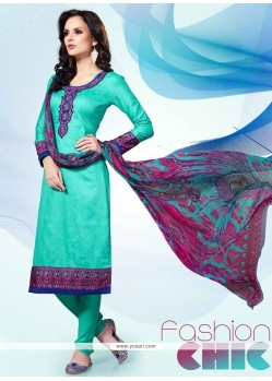 Festal Cotton Satin Embroidered Work Churidar Designer Suit