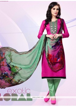 Adorning Hot Pink Patch Border Work Cotton Satin Churidar Designer Suit