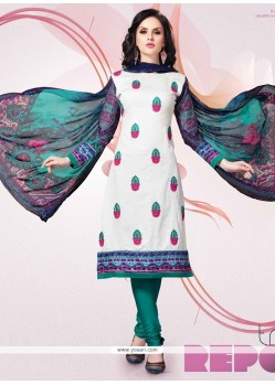 Distinguishable Off White Churidar Designer Suit