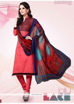 Dazzling Pink Patch Border Work Cotton Satin Churidar Designer Suit