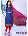 Classy Blue Embroidered Work Cotton Satin Churidar Designer Suit
