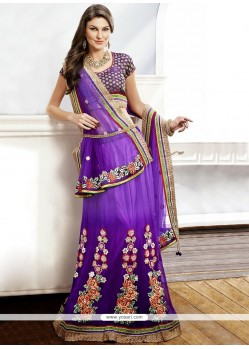 Pleasing Purple Net A-Line Lehenga Choli