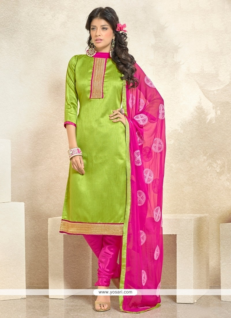 Preferable Banglori Silk Green Churidar Designer Suit