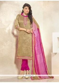 Divine Bhagalpuri Silk Beige Lace Work Churidar Designer Suit