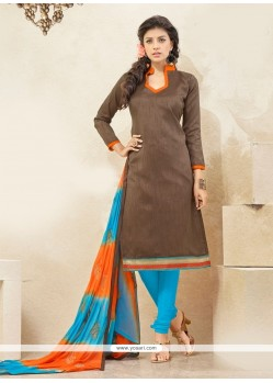 Superb Brown Lace Work Churidar Designer Suit