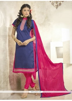 Classical Lace Work Hot Pink Churidar Designer Suit