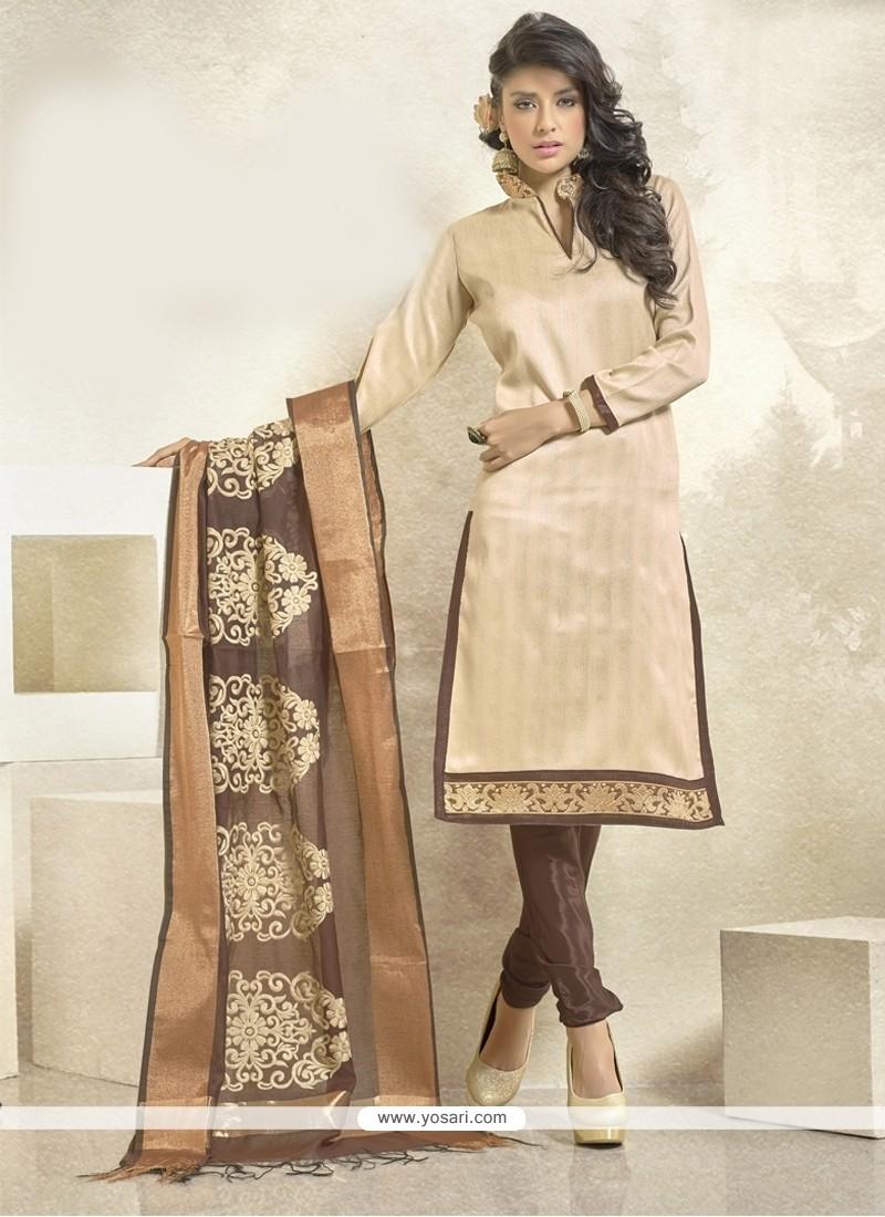 Magnificent Bhagalpuri Silk Lace Work Churidar Designer Suit