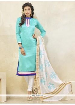 Appealing Lace Work Blue Churidar Designer Suit