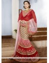 Regal Red Embroidery Net Fish Cut Lehenga Choli