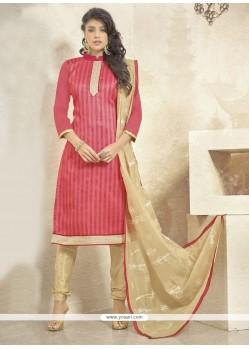 Preferable Bhagalpuri Silk Peach Churidar Designer Suit