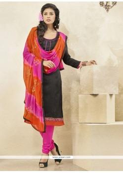 Charming Banglori Silk Black Churidar Designer Suit