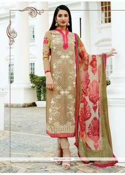 Superlative Embroidered Work Georgette Multi Colour Churidar Designer Suit