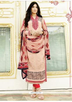 Ethnic Georgette Peach Churidar Designer Suit