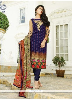 Honourable Print Work Navy Blue Churidar Designer Suit