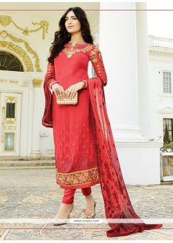 Mystical Red Churidar Designer Suit