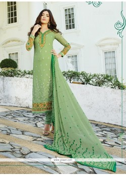Angelic Georgette Sea Green Print Work Churidar Designer Suit