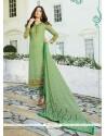 Angelic Georgette Sea Green Print Work Churidar Designer Suit