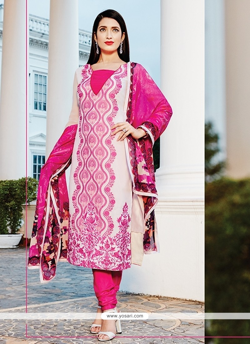 Compelling Georgette Hot Pink Embroidered Work Churidar Designer Suit