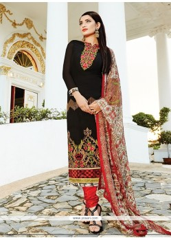Magnetize Georgette Black Embroidered Work Churidar Designer Suit