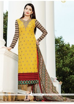 Glorious Print Work Georgette Churidar Designer Suit