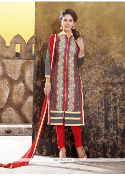 Honourable Lace Work Chanderi Churidar Designer Suit