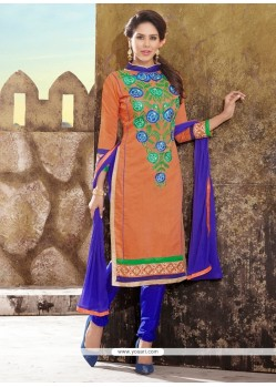 Glorious Chanderi Blue And Orange Churidar Designer Suit
